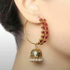 Very beautiful Bali and jhumki style hoop earrings.semi precious stones four color feroza, white, ruby, multi color,and also customized with any other color. Indian Jewelry Earrings, Fancy Jewellery, Jewelry Design Earrings, Gold Earrings Designs, Ear Jewelry, Bridal Jewelry, Diamond Jewelry, Gold Jewelry, Jewelery