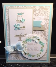 I needed a wedding card and nothing in the store would do, so I made one using Stampin' Up!'s 'Your Perfect Day' and 'For the New Two' stamp sets.