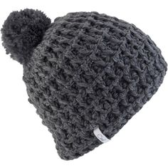 Coal Waffle Pom Beanie (£23) ❤ liked on Polyvore featuring accessories, hats, crochet pom pom hat, miniature hats, crochet cat hat, cat beanie hat and pom pom beanie hat