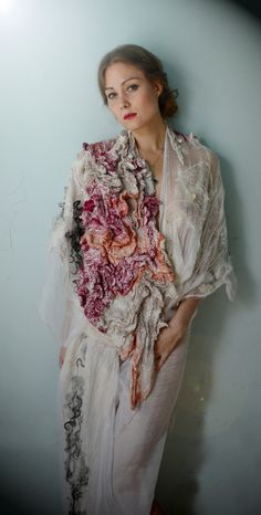 Nuno felted and plant dyed shawl - creative textiles, textured surface creation, eco fashion