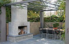 Modern Outdoor Fireplace, Concrete Outdoor Fireplace Outdoor Fireplace Huettl Thuilot Landscape Architecture Construction ,
