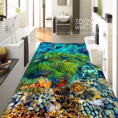 Kostenloser Versand Wasserwelt Tropische Fische 3D Bodenfliesen Tragen  Rutschfeste Wasserdicht Restaurant Lobby Etage Tapete Wandbild
