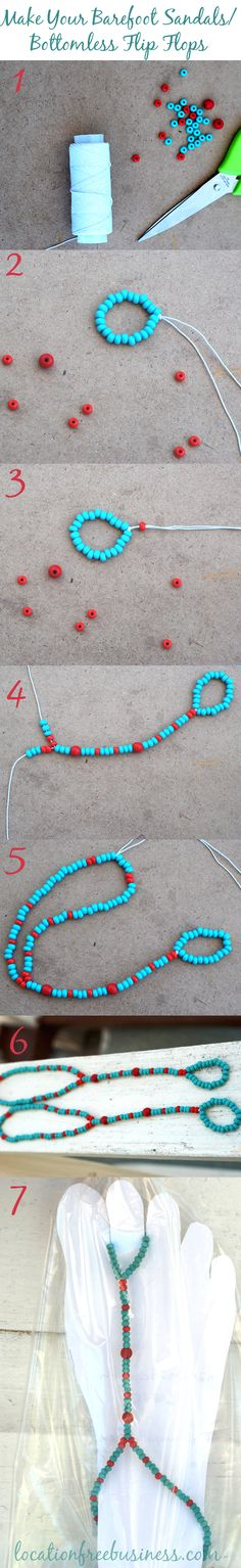 "When I first started my ""barefoot sandal business"" here on Caye Caulker island in Belize I was surfing a lot online to find inspiratsion and based on that i invented new and new products with my own ""touch"".  I want to make it easier for you by posting a really simple but cute barefoot sandal model here, step-by-step"