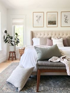 Add layers to your primary bedroom with a bench and all the pillows | Bedroom Inspo, Bedroom Inspiration, Bed Bench, Grey Fabric, Dream Bedroom, Home Decor Styles, Mid-century Modern, Pillows, Interior