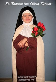 Catholic Inspired ~ Arts, Crafts, and Activities!: St Therese the Little Flower Costume Saint Costume, Nun Costume, School Costume, Diy Costumes, Costume Ideas, Catholic Kids, Catholic Saints, Catholic Crafts, Catholic Traditions
