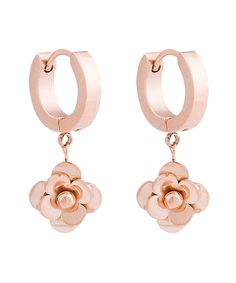 Rose Gold Flower Drop Earrings | zulily -  $9.99 $49.50 Product Description:  Sleek and polished, these charming earrings boast rose gold-plated petals for sweet shine.      1'' L     14k rose gold-plated brass     Imported