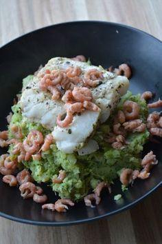 Broccolipuree met kabeljauw en garnalen
