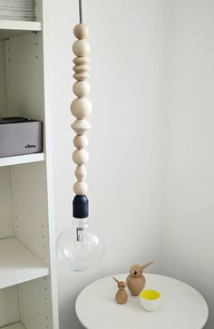 """Ahoj-2012 hanging lamp, 1 lamp """"Pendant light"""" from wooden beads with zig-zag cable, lamp, wood, zik-ZAK, geometry, light, canopy, trend"""