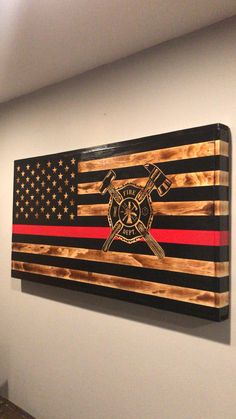 This item is unavailable Firefighter Cross, Firefighter Decor, Volunteer Firefighter, Firefighter Memes, Fire Hose Projects, Wood Projects, Fireman Quilt, Thin Red Line Flag, Wooden American Flag