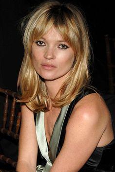 Kate Moss- long bangs  shoulder length cut