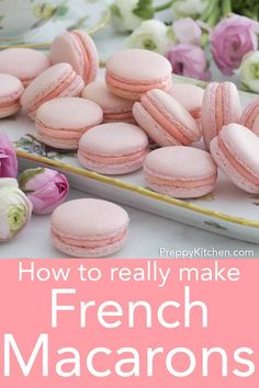 These French macarons from Preppy Kitchen make a very special treat to give your friends and family. They're bite-sized Heaven! I've included ALL the tips and tricks I can think of to help you make these cookies picture perfect and delicious! Easy French Macaron Recipe, French Macaroon Recipes, French Macaroons, Recipe For Macaroons Easy, No Fail Macaron Recipe, Best Macaroon Recipe, Macarons Easy, How To Make Macaroons, Making Macarons