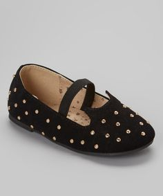 Look what I found on #zulily! Black Strap Lovely Flat by QQ Girl #zulilyfinds