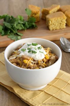 White Bean and Chicken Chili - a twist on traditional chili made with white beans and ground chicken.