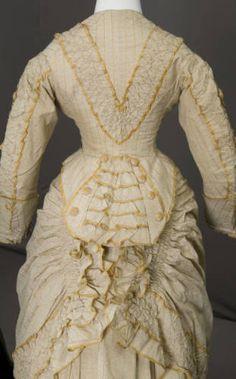 Dress, 1880. Cotton Twill, Silk Taffeta :: Costume and Textile Collection, Chicago