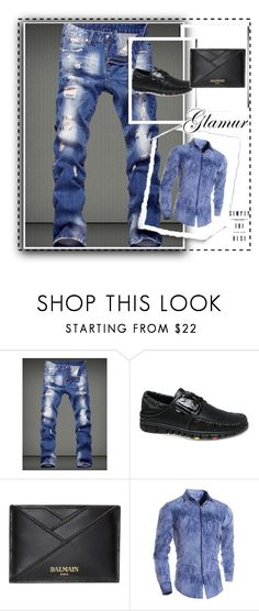 """""""Win $20 Cash from Rosegal!"""" by grreta ❤ liked on Polyvore featuring Balmain, men's fashion, menswear, StreetStyle, Blue, jeans, man and rosegal"""