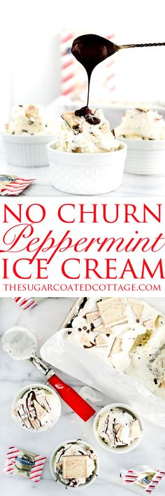 Peppermint Bark No Churn Ice Cream Peppermint Bark No Churn Ice Cream Recipe! Cold, creamy ice cream with pieces of cool, chocolately peppermint bark swirled in. Frozen Desserts, Just Desserts, Delicious Desserts, Frozen Treats, Ice Cream Mix, No Churn Ice Cream, Peppermint Ice Cream, Peppermint Bark, Snack Recipes