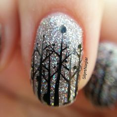 frosty forest nails with OPI My voice is a little norse and bundle monster black polish and stampingplate BM-407