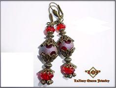 Barock Gothic Rokoko Ohrhänger Dots  Rot  Bronze von LuXury Queen Jewelry auf DaWanda.com