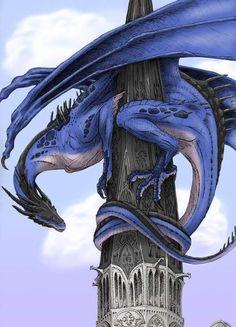 Collab: Guardian by *Windie Dragon on deviantART Fantasy World, Fantasy Art, Dragon Medieval, Cool Dragons, Dragon's Lair, Dragon Artwork, Dragon Pictures, Blue Dragon, White Dragon