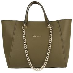 7b2a5d505fb1 Guess Nikki Chain Tote Olive in green