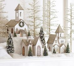 Lit German Glitter Village Houses, Benefiting Give A Little Hope Campaign | Pottery Barn