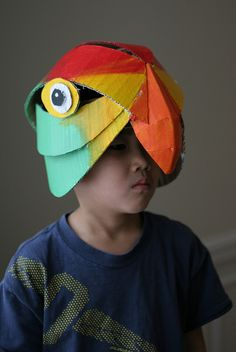Parrot mask, painted by wrnking, via Flickr