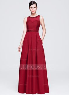 [US$ 112.99] A-Line/Princess Scoop Neck Floor-Length Satin Lace Evening Dress With Beading Sequins