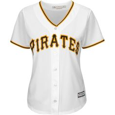 Majestic Women's Pittsburgh Pirates Cool Base Jersey ($70) ❤ liked on Polyvore featuring activewear, activewear tops, white et majestic sportswear