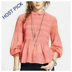 HP Free People Knock on Wood Peplum Top Bands of smocking texture the bodice and sleeves of this beautiful cotton top crowned with a Peter Pan collar and cut with chic bloused sleeves.  - NWOT - Back button closure - 100% cotton - Hand wash cold, line dry Free People Tops