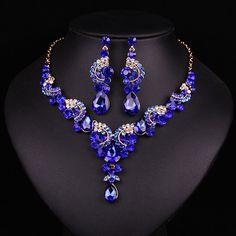 New fashion wedding Blue Dubai rhinestone jewelry set brides bridesmaid or prom party gold plated necklace earring set women