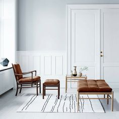 Woodlines Rug White with Black Lines Detail Naja Utzon Popov Carl Hansen & Son