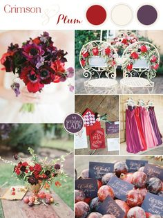 Purple and red together create a bold wedding palette but rich shades of crimson and plum paired with delicate details for a romantic and unexpected design! Wedding Color Schemes, Wedding Colors, Wedding Flowers, Fall Flowers, Wedding Shower Decorations, Wedding Themes, Wedding Ideas, Wedding Stuff, Red Fall Weddings