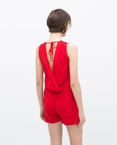 Image 4 of SHORT JUMPSUIT WITH BOW AT WAIST from Zara