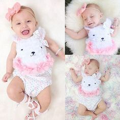 Newborn Baby Girl Clothes Flower Polka Dot Bear Romper Jumpsuit Outfits #Affiliate