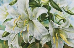 Step 6 of white lilies watercolor painting demonstration