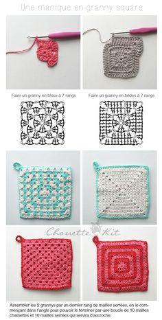 Häkel-Topflappen-Tutorial - Owl Kit - Crochet Modèles et Techniques - Crochet Motif Patterns, Granny Square Crochet Pattern, Crochet Diagram, Crochet Granny, Crochet Chart, Crochet Squares, Diy Crochet, Crochet Tutorial, Granny Squares