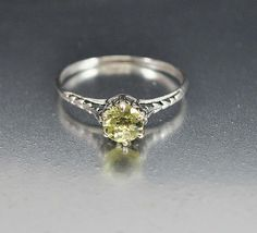 Heart Sterling Silver Filigree Peridot Ring Size 6 Engagement Ring Art Deco Wedding Jewelry