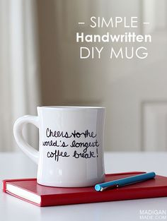 A simple DIY coffee mug makes a sweet and thoughtful retirement gift! Pair with a good book and coffee beans in a cute gift tote! | Madigan Made