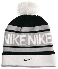 Nike Beanie - Gray stripes with black stripes and a white puff of wool at the top. Along the bottom is a white with the Nike symbol in the centre. I decided on this beanie because if I got a proper choice I would always choose Nike as my shoe choice. But I would remove the pompom on the top.
