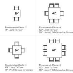 """Square table capacity - Square: 2 People - Square: 4 People - Square: 4 People - Square: 4 People - Square: 8 People - Square: People is a """"little"""" tight) Dining Table Sizes, Diy Dining Table, Table Bar, Table Seating, Table Legs, Square Wedding Tables, Square Tables, Square Kitchen Tables, House Tweaking"""