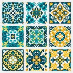 set with beautiful seamless ornamental tile background. vector illustration can be used for desktop wallpaper or frame for a wall hanging or posterfor pattern fills surface textures textile. Mosaic Patterns, Print Patterns, Decorative Tile, Decorative Boxes, Mundo Hippie, Moroccan Decor, Moroccan Bedroom, Moroccan Lanterns, Moroccan Interiors