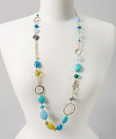Look what I found on #zulily! Blue & Green Single Strand Stone Necklace #zulilyfinds