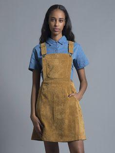 Mustard Corduroy Pinafore Dress