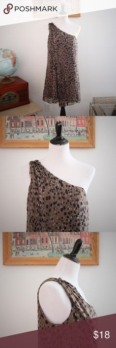 """One Shoulder Silk Dot Mini Dress Cocktail Medium Sheer overlay with polka dots and lines makes for an interesting and dynamic pattern on this Studio M mini dress.  Worn with black tights and a chunky heel shoe, the print almost reminds me of an animal print. One shoulder with detail on the shoulder top. Fully lined in a polyester material. Good condition with no holes or tears. Light water stain on back. So light can't get with camera. Have not dry cleaned. Size M. No stretch.  Bust: 37""""…"""