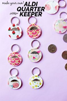 aldi quarter keychain sewing pattern - see kate sew - - Make your own Aldi quarter keeper with this free aldi quarter keychain sewing pattern! It's fun to sew and super easy! These are great for Aldi nerds! Small Sewing Projects, Sewing Projects For Beginners, Sewing Hacks, Sewing Tutorials, Sewing Crafts, Sewing Tips, Christmas Sewing Projects, Scrap Fabric Projects, Dress Tutorials