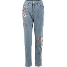 Floral Embroidered Jeans ($35) ❤ liked on Polyvore featuring jeans, rosegal, pants, bottoms and blue jeans