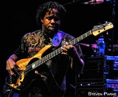 Victor Wooten with his Fodera Ying Yang bass