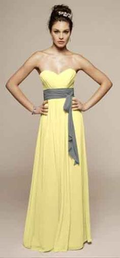 2 New - Liz Fields - Beautiful Yellow Chiffon Floor Length Dresses :  wedding bridesmaid bridesmaids charcoal chiffon dress floor length gray grey liz fields lizfields new dress sash sweetheart Dress...not these colors for my wedding but i love the long flowy style and the sash!