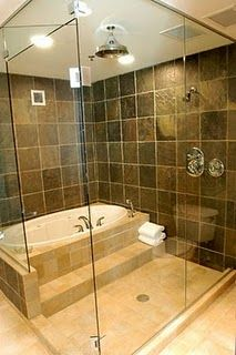 I miss Japanese style (tub in shower) bathroom. Much easier to clean and kids can do whatever that want to. I don't have to worry about floor getting wet and messy.