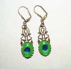 Peacock Eye Earrings Victorian Revival Bronze Filigree and Glass Cabochons   eBay